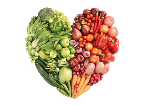 Heart filled with fruits and veggies